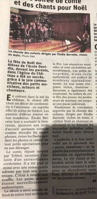 Article DNA spectacle de Noël Davidia 2019